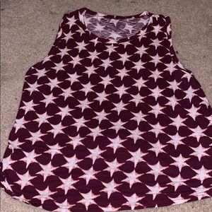 White and red star tank top with tie back